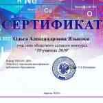 """Сертификат участника """"IT - учитель 2019"""""""
