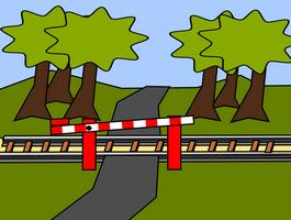 Железнодорожный шлагбаум.
